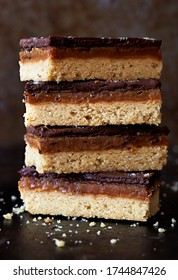 Chocolate caramel shortbreads sliced, stacked