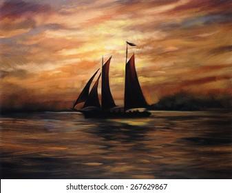 chocolate caramel sunset sailboat oil painting