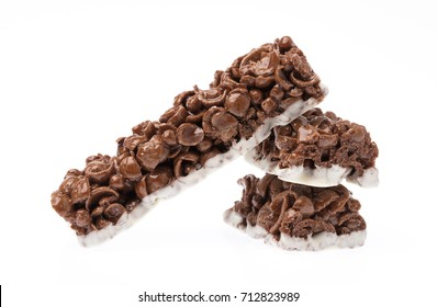 Chocolate Cereal Bar isolated on white background