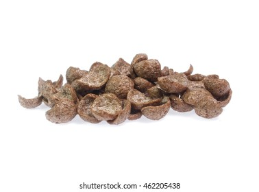 chocolate cereals isolated on white background