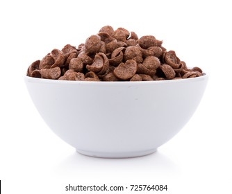 chocolate cereals in white bowl on white background.
