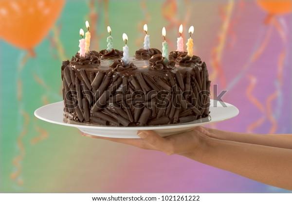 Sensational Chocolate Cheerful Birthday Cake Birthday Cake Stock Photo Edit Funny Birthday Cards Online Necthendildamsfinfo