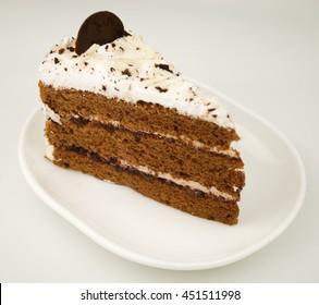 Chocolate cheese cake on white background