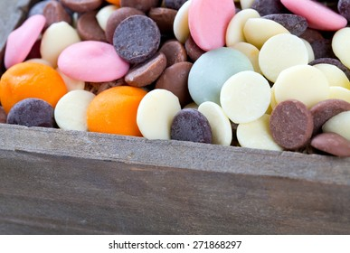 chocolate chip assortment in a wooden box