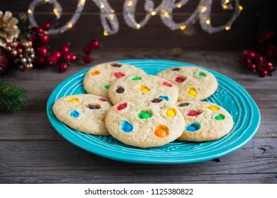 Chocolate chip and candy cookies on a plate