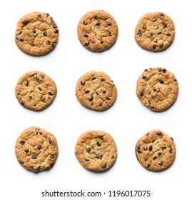 Chocolate chip cookie collection. Isolated on white background