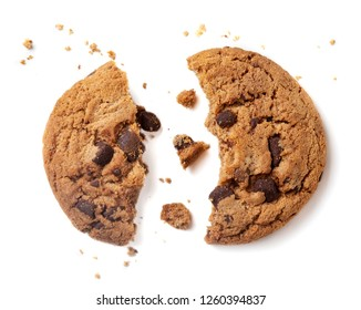 Chocolate chip cookie with crumbs isolated on white background.
