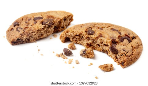 Chocolate chip cookie with crumbs and pieces  isolated on white background. Crushed cookies