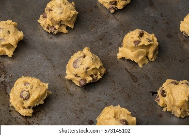 Chocolate Chip Cookie Dough On Cookie Sheet