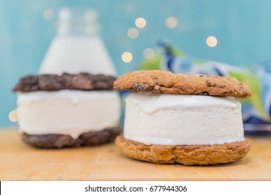 Chocolate Chip Cookie Ice Cream Sandwich in Foreground on table top