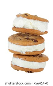 Chocolate Chip Cookie Ice Cream Sandwich isolated on white background. Clipping path included.