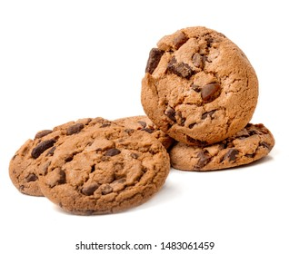Chocolate chip cookie isolated on white background. Stack of butter cookie close up