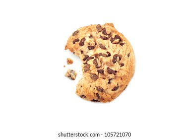 Chocolate chip cookie with a missing bite
