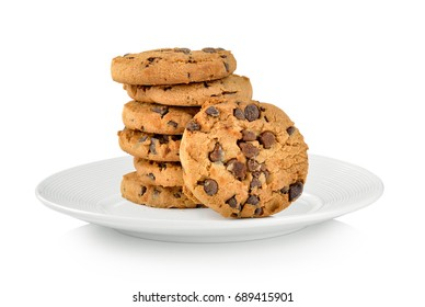 Chocolate chip cookie in plate on white background