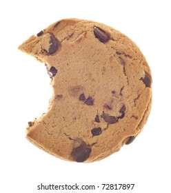 Chocolate Chip Cookie Snack with Bite Taken Isolated on White with a Clipping Path.