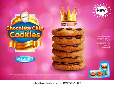 Chocolate chip cookies ads. Realistic vector background. 3d illustration and packaging