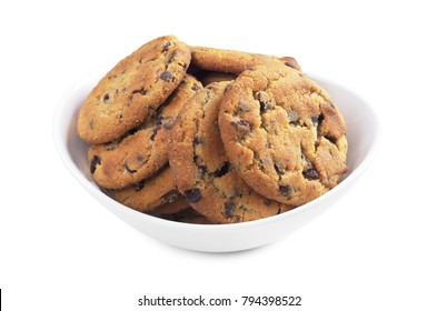 Chocolate chip cookies in bowl on white background close-up