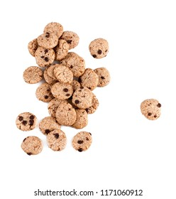 Chocolate chip cookies cereal isolated on white.