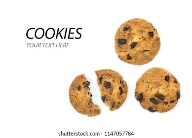 chocolate chip cookies with cracked cookies isolated on white background with free space to add your text
