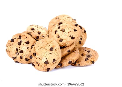 Chocolate chip cookies grouped together in a small pile.
