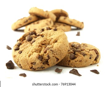 Chocolate chip cookies, Isolated cookies, Baked cookies, Bakery products, Delicious food