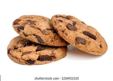 Chocolate chip cookies isolated on white background. Stack