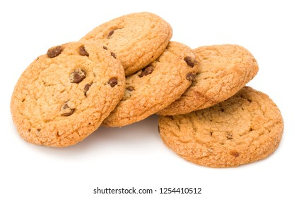 Chocolate chip cookies isolated on white background. Sweet biscuits. Homemade pastry.