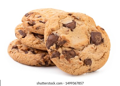 Chocolate chip cookies isolated on white background, Homemad cookies close up.