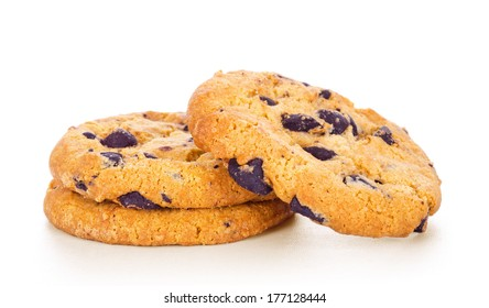 Chocolate Chip Cookies isolated on white