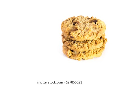 chocolate chip cookies isolated on white background, copy space