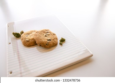 Chocolate Chip Cookies and Marijuana Buds on Binder Paper Plate at an Angle