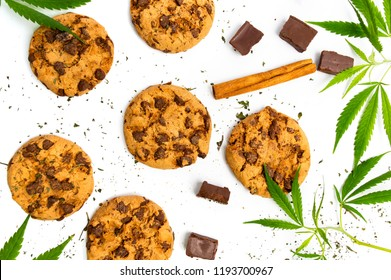 Chocolate chip cookies with marijuana isolated on white background