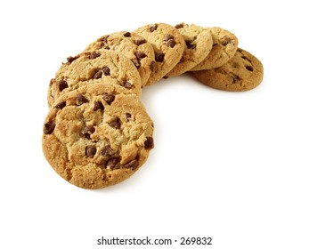 Chocolate Chip Cookies, natural light. Path included.Longer depth of field.