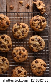 Chocolate Chip Cookies on a cooling rack from the top