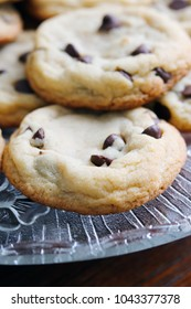 Chocolate Chip Cookies on a Glass Platter
