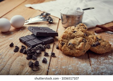 chocolate chip cookies on rustic table