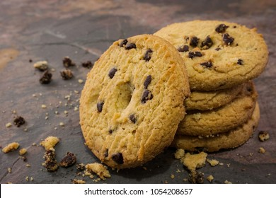 chocolate chip cookies on a stone table
