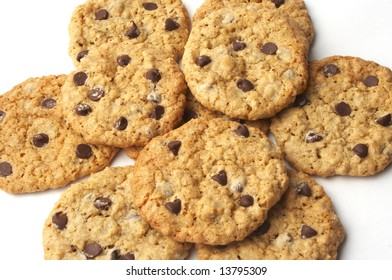 a chocolate chip cookies on a white background