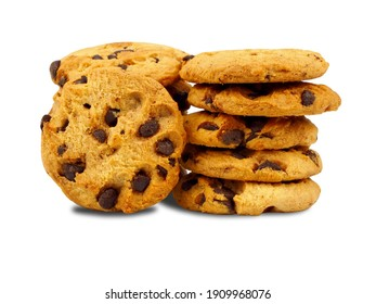 Chocolate chip cookies on white background. Cookies are small, flat-shaped pastries. Cookies and biscuits are the same pastries. In the US it is called a cookie, in the UK it is called a biscuit.