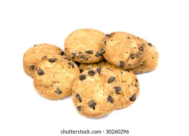 Chocolate chip cookies on a white surface