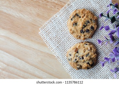 Chocolate chip Cookies on wooden desk with copy space,top view.