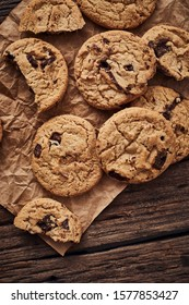 Chocolate chip cookies, Sweet biscuits, Concept for a tasty snack