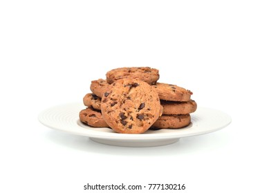 Chocolate chip cookies in white plate 