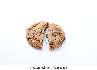 Chocolate chip and hazelnuts cookies isolated on white background. Sweet biscuits. Homemade pastry.