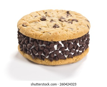 Chocolate Chip Ice Cream Cookie Sandwich on White Background