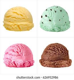 Chocolate chip mint, strawberry, mango ice cream scoops isolated on white background