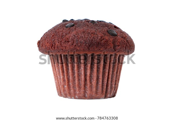 Chocolate chip muffin cake isolated on white