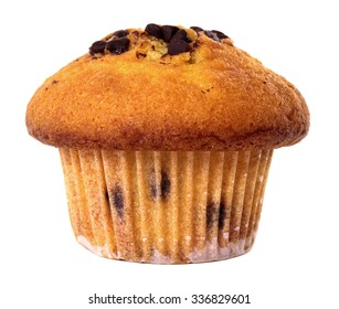 Chocolate chip muffin cup cake closeup isolated on white background.