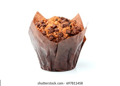 Chocolate chip muffin isolated on white background.