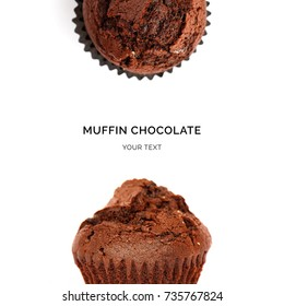 Chocolate chip muffin on white background. Food concept.